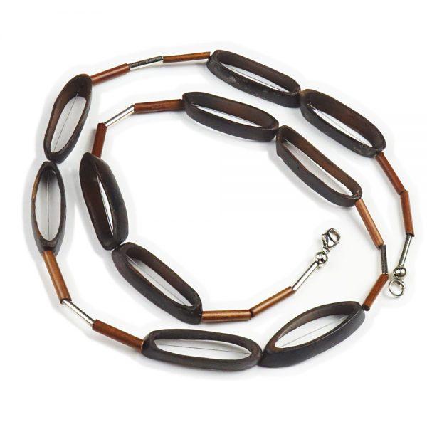 Halskette Holz und Silber von esperlt