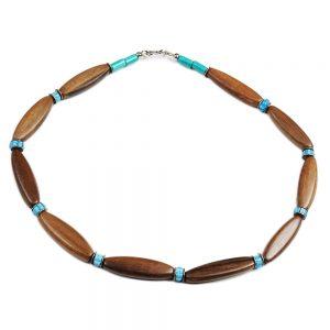 Halskette Holz Silber und Türkis von esperlt