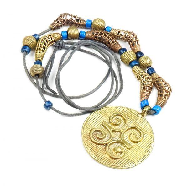 Halskette Leder und Messing mit Blau von esperlt