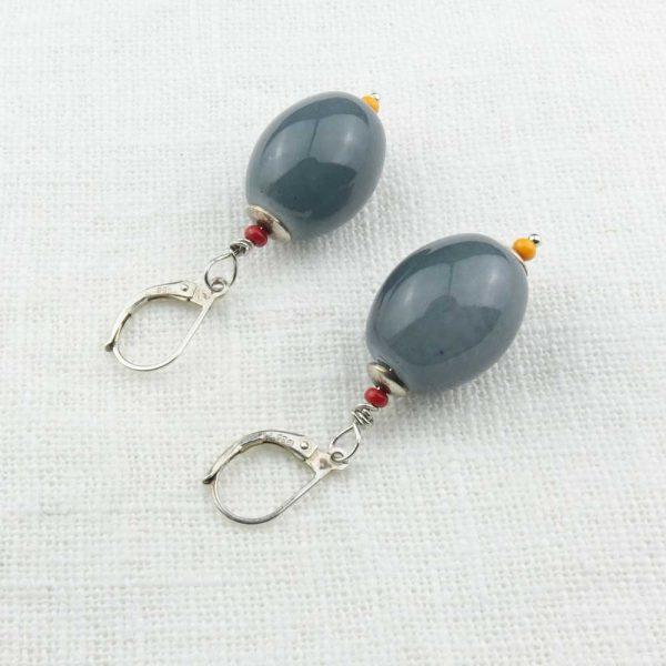 Ohrringe Glasoliven Grau von esperlt