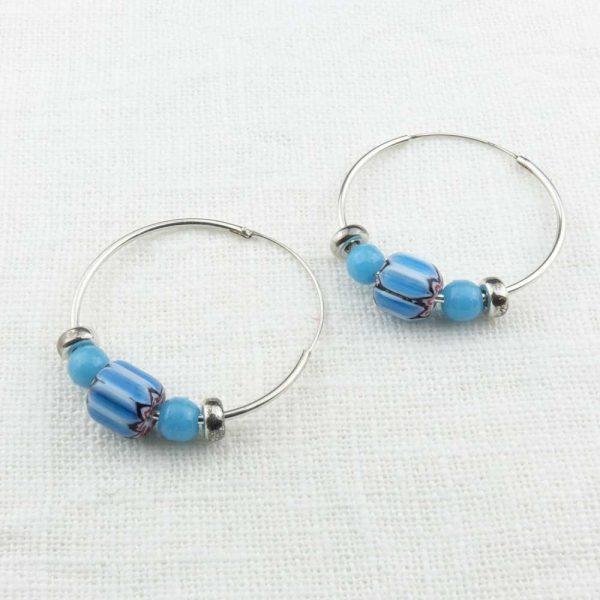 Ohrringe Creolen Blau - von esperlt